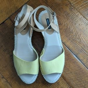 Adorable yellow ankle strap espadrilles